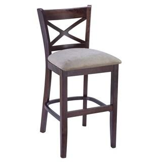 Walnut Finish X-back Upholstered Seat Counter Stool