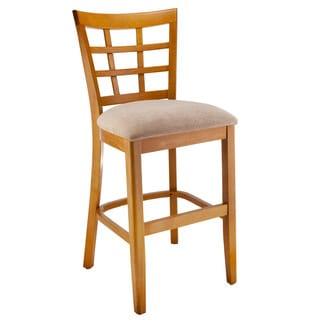 Lattice-back Microfiber Seat Counter Stool