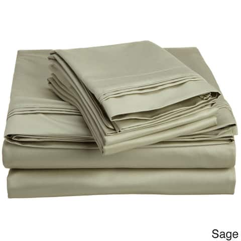 Miranda Haus Cowles Egyptian Cotton Solid Deep Pocket Sheet Set