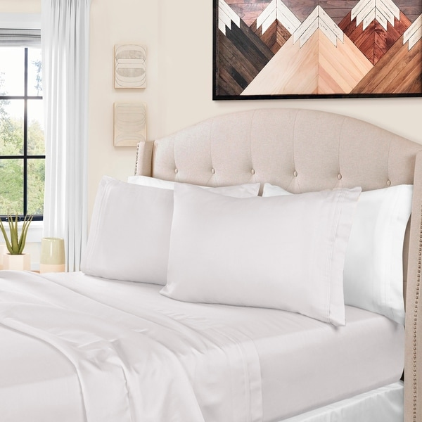 White Solid Percale Cotton 4 PC Sheet Sets 1000 Thread Count Super Deep Pocket