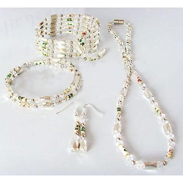White Faceted Pearlized Hematite Jewelry Set
