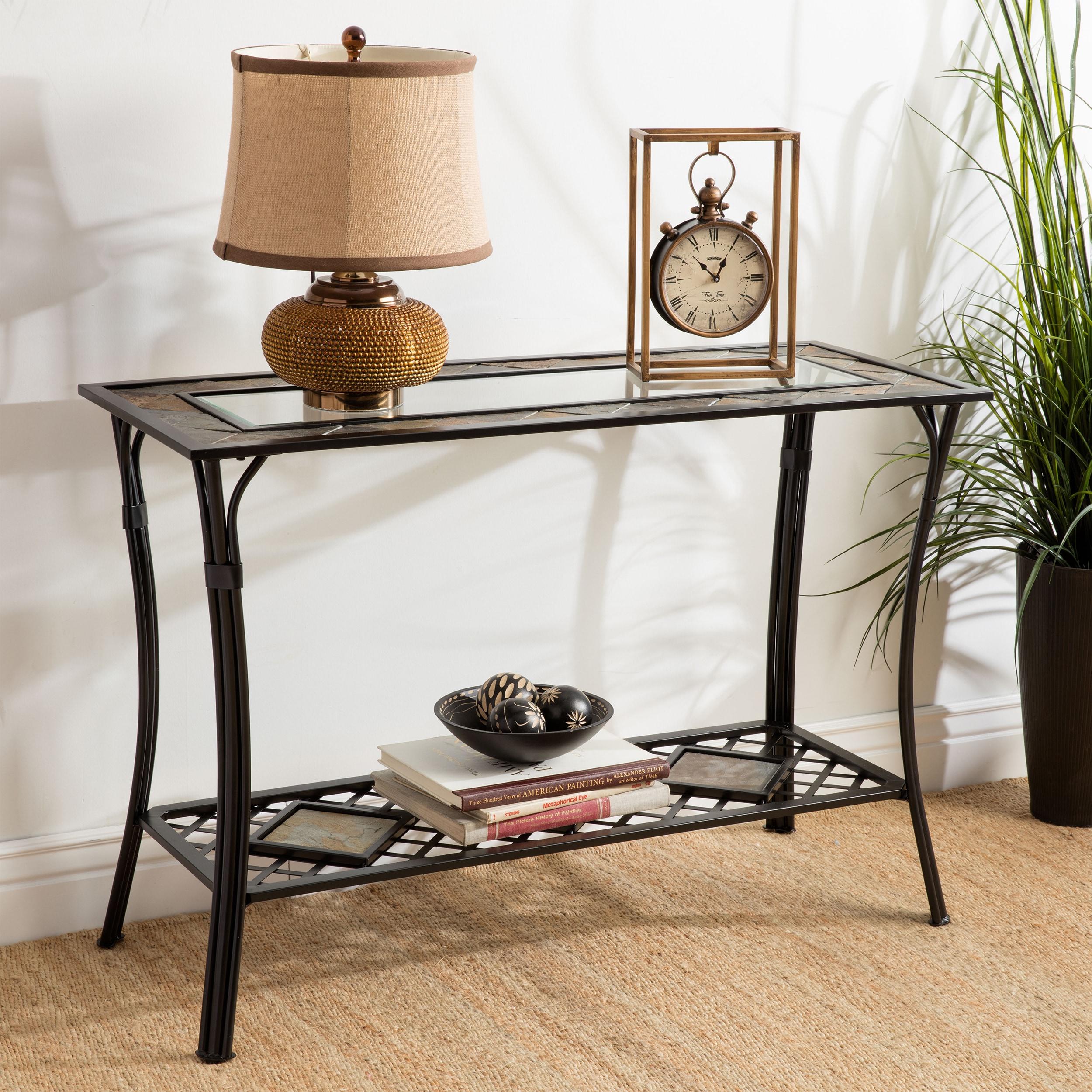 Slate/ Glass/ Steel Sofa Table, Black
