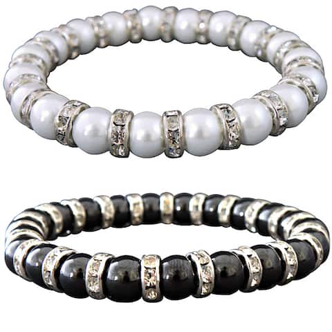 Magnetic Tuchi Hematite Pearl and Crystal Bracelet