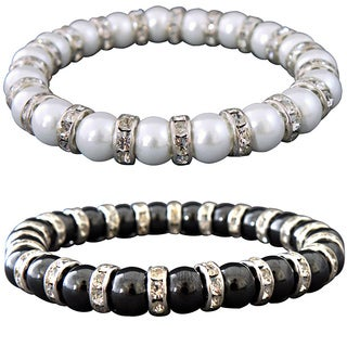 Magnetic Tuchi Hematite Pearl and Crystal Bracelet (2 options available)