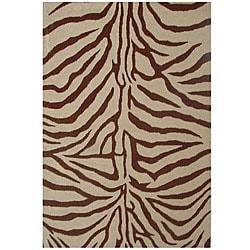 Thumbnail 1, Hand-tufted Zebra Brown Wool Rug (8' x 10' 6).