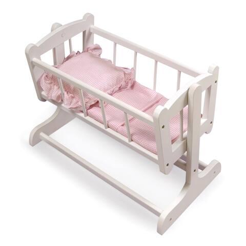 Badger Basket Heirloom Doll Cradle - White/Pink
