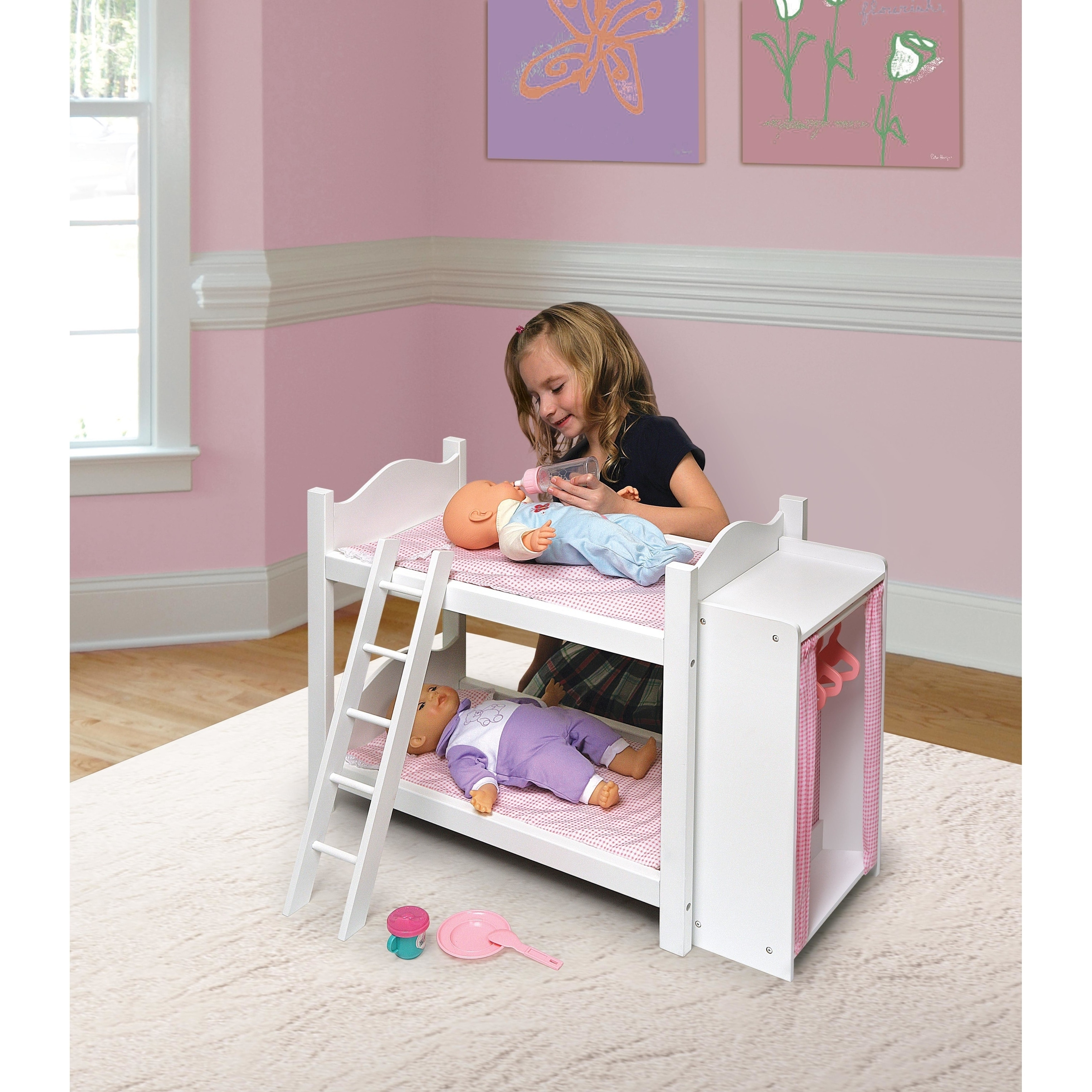 Badger Basket Doll Bunk Bed With Armoire On Sale Overstock 3358329