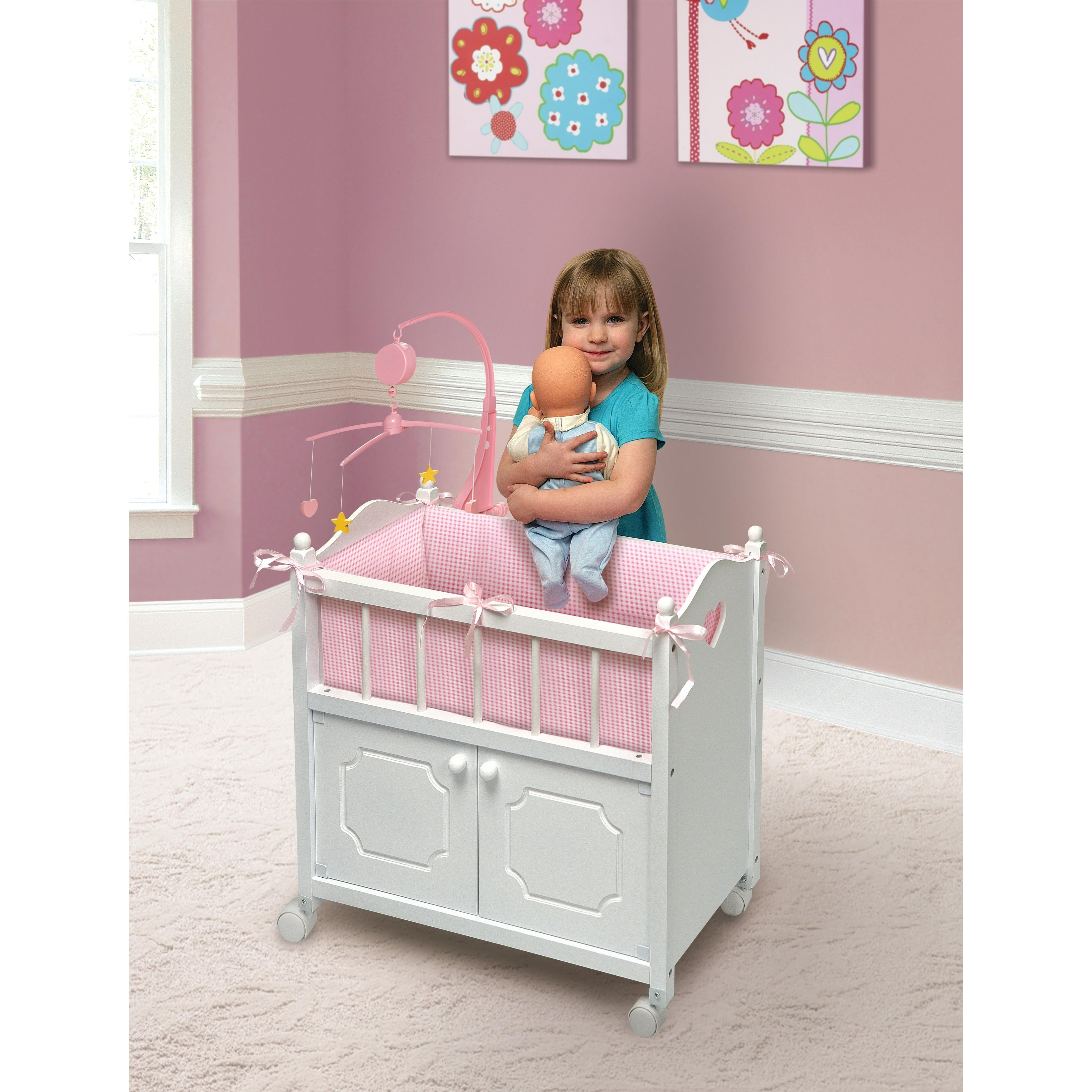 Badger Basket White Doll Crib with Cabinet//Bedding//Mobile//Wheels fits American
