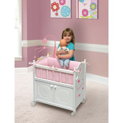 Badger Basket Cabinet Doll Crib with Bedding and Personalization Kit