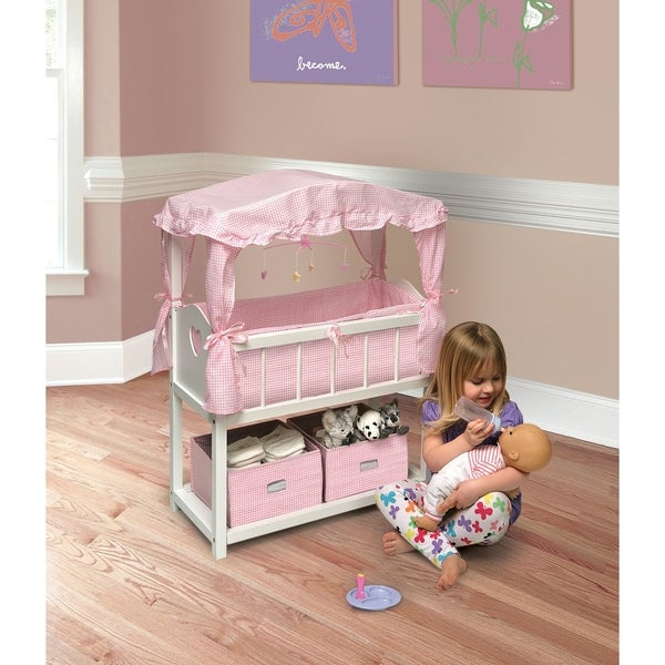 Badger Basket Canopy Doll Crib With Baskets, Bedding, And Mobile    White/Pink