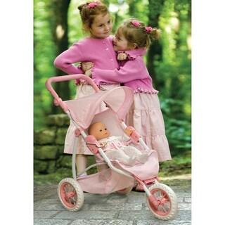 Badger Basket Folding Three Wheel Doll Jogging Stroller - Pink/Gingham