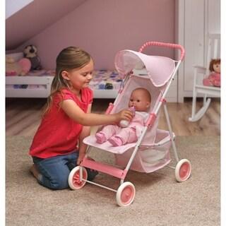 Badger Basket Folding Doll Umbrella Stroller - Pink/Gingham