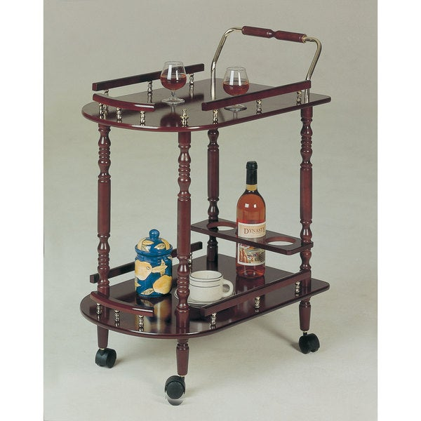 Coaster Company Rolling Brass Accent Hardwood Kitchen Cart