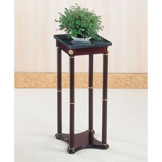Coaster Company Green Marble High Top Cherry Finish Wood End Table