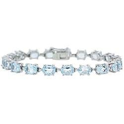 Glitzy Rocks Sterling Silver 19ct Tgw Blue Topaz Bracelet