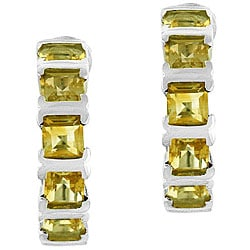 Glitzy Rocks Sterling Silver Citrine Half Hoop Earrings