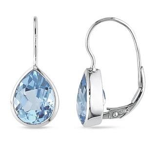 Miadora 10k White Gold Blue Topaz Leverback Earrings