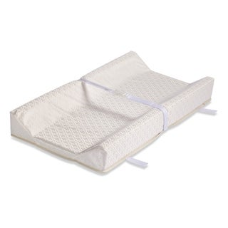 LA Baby 34-inch Contour Style Changing Pad with Organic Cotton Layer - White