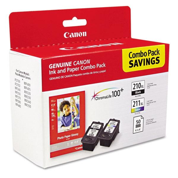 Canon 2973B004 (PGI-210XL/CL-211XL) High-Yield Black/Tri-Color Ink/Paper Combo