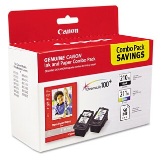 Canon 2973B004 (PGI-210XL/CL-211XL) High-Yield Black/Tri-Color Ink/Paper Combo
