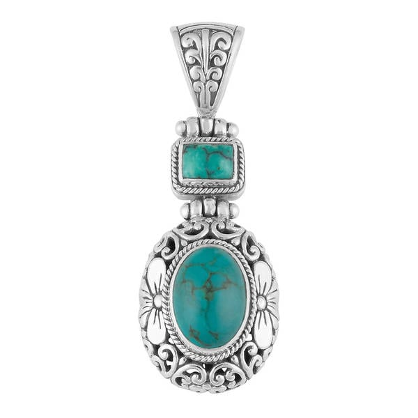 Handmade Silver Cawi Motif Turquoise Pendant (Indonesia)