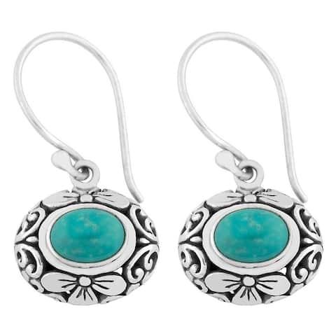 Handmade Silver Turquoise Floral Dangle Earrings (Bali)