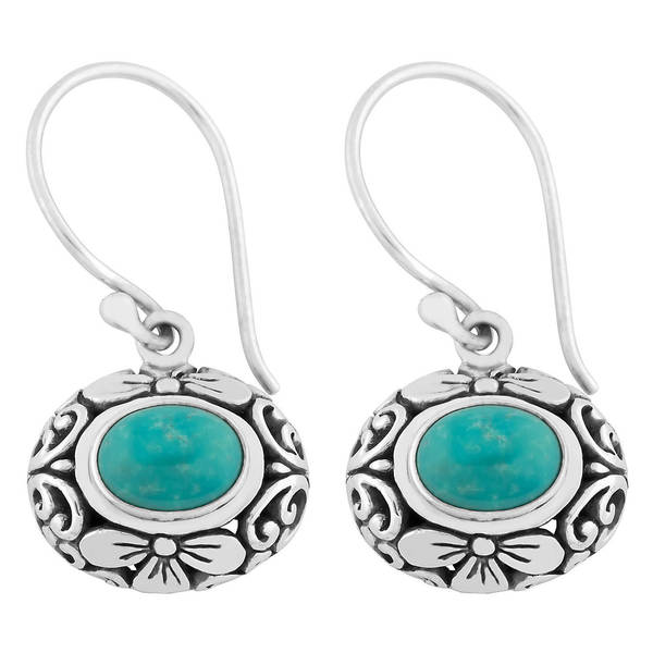 Handmade Silver Turquoise Cawi Motif Earrings (Indonesia)