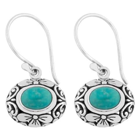 Handmade Silver Turquoise Cawi Dangle Earrings (Indonesia)