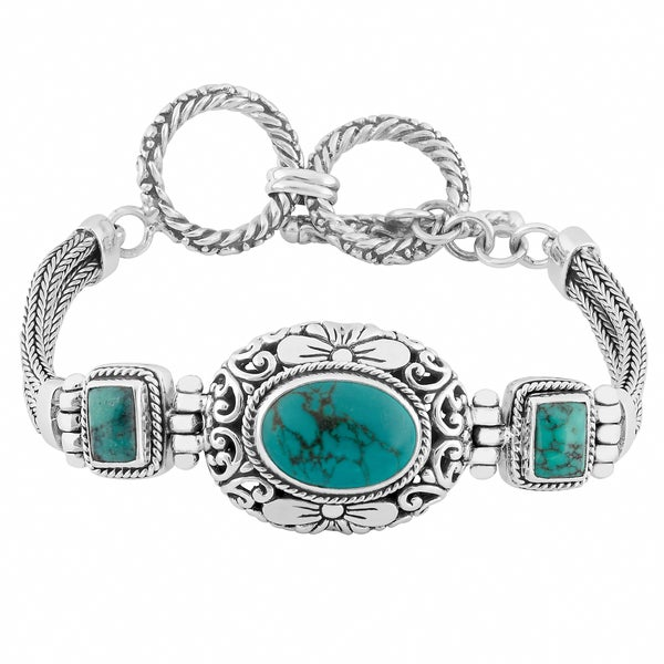 Handmade Silver 'Cawi Motif' Turquoise Bracelet (Indonesia)