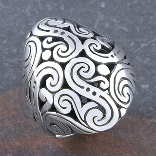 Handmade Sterling Silver 'Cawi Motif' Oval Ring (Indonesia)
