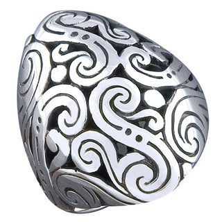 Handmade Sterling Silver 'Cawi Motif' Oval Ring (Indonesia) (2 options available)