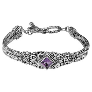 Sterling Silver 'Cawi Motif' Amethyst Bracelet (Indonesia)
