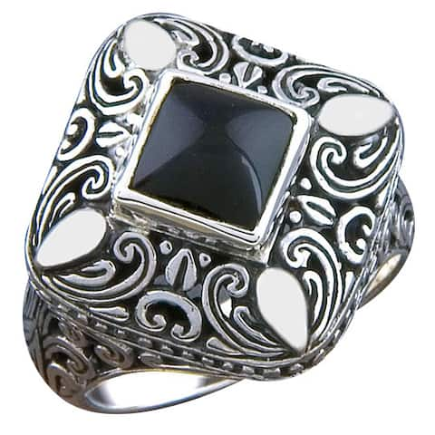 Handmade Sterling Silver Onyx Cawi Ring (Bali)
