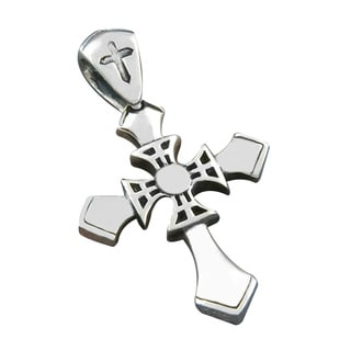 Handmade Sterling Silver 'Motif' Cross Pendant (Indonesia)