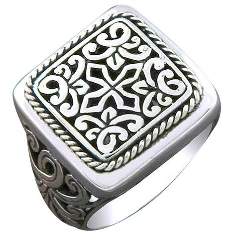 Handmade Sterling Silver Square Face Cawi Ring (Indonesia)