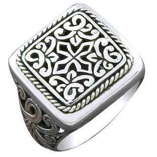 Handmade Sterling Silver Square Face Cawi Ring (Indonesia) (5 options available)