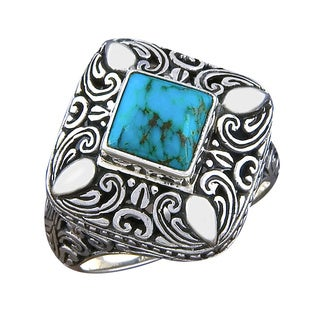 Handmade Sterling Silver Cawi Motif Turquoise Ring (Indonesia)
