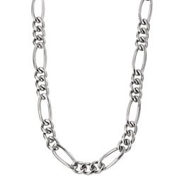 Men's Titanium 8mm Figaro Necklace (24-inch)
