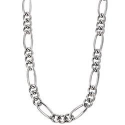 Men's Titanium 8mm Figaro Necklace (24-inch)