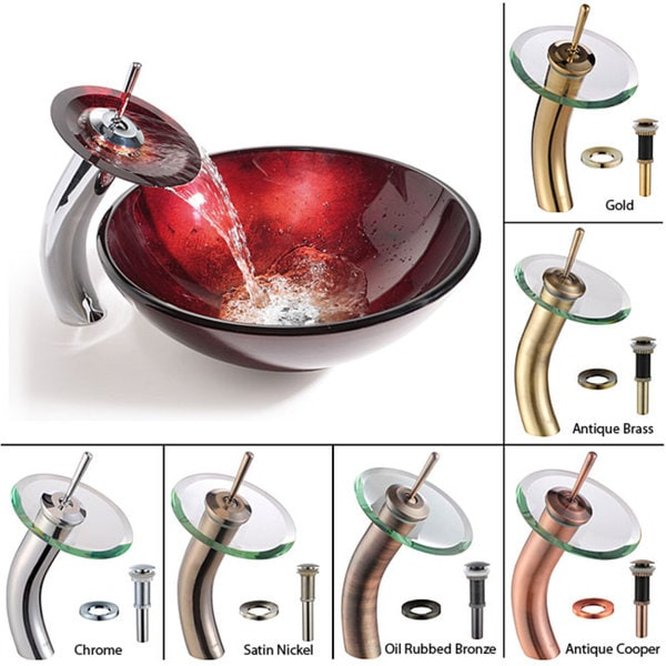 KRAUS Irruption Glass Vessel Sink in Red with Single Hole Single-Handle Waterfall Faucet in Satin Nickel