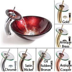 KRAUS Irruption Glass Vessel Sink in Red with Single Hole Single-Handle Waterfall Faucet