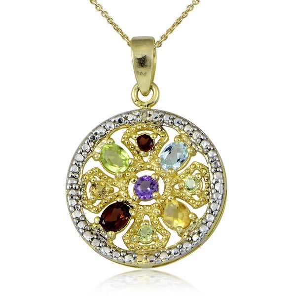 Glitzy Rocks 18k Gold Overlay Gemstone Medallion Necklace
