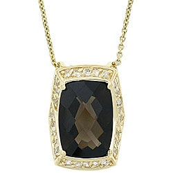 Glitzy Rocks 18k Gold Overlay Smokey Quartz and Topaz Necklace