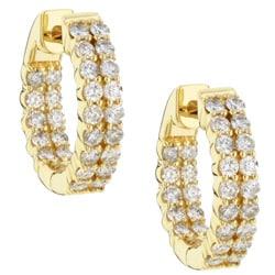 Eloquence 14k Yellow Gold 1ct TDW Diamond Double-Row Hoop Earrings
