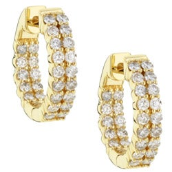 Eloquence 14k Yellow Gold 1ct TDW Diamond Double-Row Hoop Earrings