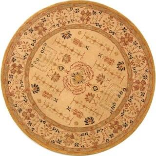 Safavieh Handmade Anatolia Oriental Treasure Sand Hand-spun Wool Rug (8' Round)