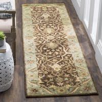 Safavieh Handmade Antiquities Mahal Brown/ Blue Wool Runner (2'3 x 10')