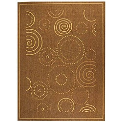 Safavieh Ocean Swirls Brown/ Natural Indoor/ Outdoor Rug (5'3 x 7'7)