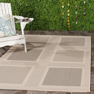 Safavieh Lakeview Sand/ Black Indoor/ Outdoor Rug - 4' x 5'7