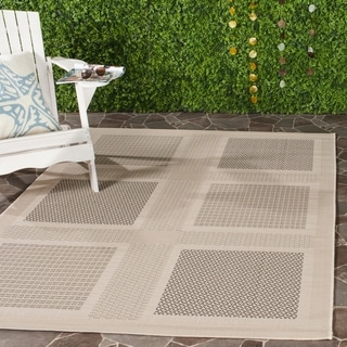 Safavieh Indoor/ Outdoor Lakeview Sand/ Black Rug (8' x 11')